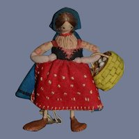 Old Cloth Doll Dressed Felt Italian Miniature Character