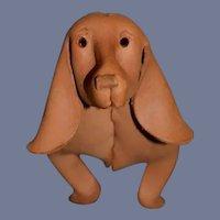Vintage Unusual Leather Dachshund Dog Deru Germany Orgami Mid Century