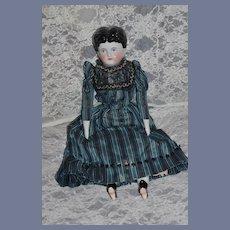 Antique Doll China Head Center Part Beaded Dress