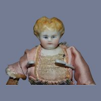 Antique China Head Doll Miniature Wonderful Dollhouse Dressed