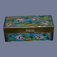 Old Miniature Hinged Box Cloisonne Doll Size Ornate Enamel