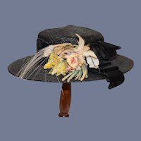 Wonderful Vintage Hat for Doll Straw Bonnet Velvet Trim FLowers