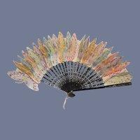 Wonderful Old Oriental Petite Fan for Doll Butterflies Gorgeous Rice Paper Rare