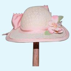 Vintage Artist Made Doll Hat Bonnet W/ Hat Box Judith Phelps Original