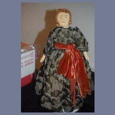 Old Cloth Doll Queen Elizabeth Fancy W/ Sewn on Features