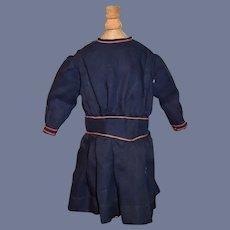 Old Doll Dress Wool Drop Waist Pleats Navy