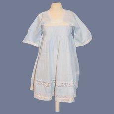 Old Cotton Lace Doll Dress Pale Blue Wonderful