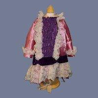 Vintage Hand Made Doll Dress French Market Drop Waist Lace Velvet