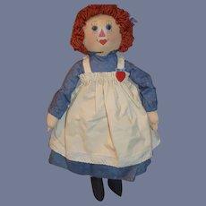 Wonderful Vintage Oil Cloth Raggedy Ann Doll By Artist Sue Johnson Signed Dated Limited Ed