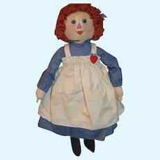 Wonderful Vintage Oil Cloth Raggedy Ann Doll By Artist Sue Johnson Signed Dated Limited Ed