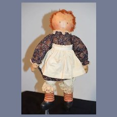 Wonderful Oil Cloth Vintage Artist Raggedy Ann AND Andy Doll Set Barbara Moore Signed