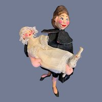 Old Cloth Doll Klumpe Lady W/ Baby Character Doll