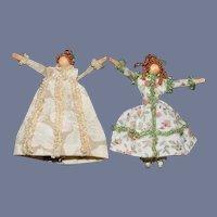 Vintage Miniature Wood Doll Set Artist Dollhouse Sweet Dressed