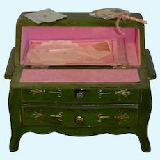Vintage Petite Doll Chest Desk Painted W/ Artist Miniature Accessories For Fashion Doll