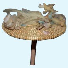 Old Doll Straw Hat Bonnet Topper Fancy Flower Fashion Doll