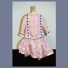 Sweet Hand Made Doll Dress French Market Fancy Trim Drop Waist