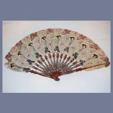 Antique Oriental Fan Rice Paper Fancy Hand Painted  Lady and Flowers W/ Bamboo handle