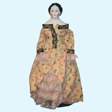 Antique China Head Doll 1850's Kloster Veilsdorf Fancy Brown Eye Large Doll Dressed