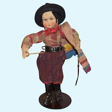 Vintage JoAo Perotti Lenci Designer Brazil Gaucho Cow Boy Cloth Doll W/ Tags