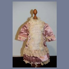 Vintage Doll Dress Hand Made Lace Panel Drop Waist French Market