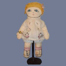 Old Cloth Doll Rag Doll Sewn Features Sweet Original outfit