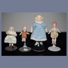 Antique Doll Lot Miniature All Bisque Dollhouse Jointed FOUR DOLLS