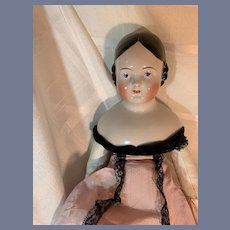 Antique Doll China Head Pink Tint Covered Wagon Large Gorgeous Head 23""