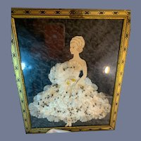 Wonderful Old Framed Paper Doll W/ Silk Flower Dress Gorgeous