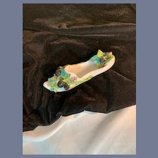 Old Porcelain Slipper Shoe W/ Decorated Fruit & Leaves Wall Plaque or Trinket Box