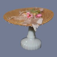 Old Straw Doll Bonnet Hat W/ Flowers and Ribbons Petite Fashion Doll