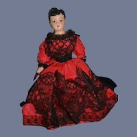 Vintage Doll Sweet Wax W/ Fancy Clothes by Mildred Walsh Cabinet Size
