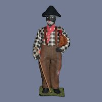Old Cloth Black Doll Man Sewn Features Sweet