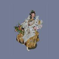 Vintage Klumpe Cloth Doll Very Fancy Wonderful Costume