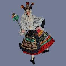 Vintage Doll Klumpe or Roldan  W/ Jester Hat Original Costume