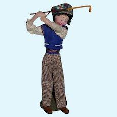 Vintage Doll Cloth Klumpe Golfer W/ Tag