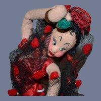 Vintage Doll Cloth Klumpe W/ Tags Spanish Dancer Gorgeous