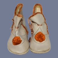 Old Shoes Boots W/ Pom Pom's Perfect for Doll