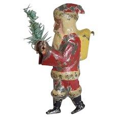 Old Tin Santa Claus Ornament Doll W/ Tree