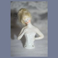 Old Half Doll China Head W/ Mohair Wig