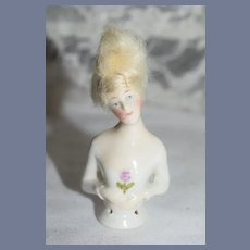 Old China Head Half Doll Mohair Wig Fancy
