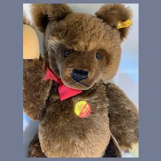 Vintage Steiff Teddy Bear Jointed Button Tag Chest Tag Chocolate 0206/51    1980's