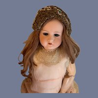 Antique Doll Metal Thread Gold Linzer Doll Bonnet Hat W/ Beads Ornate