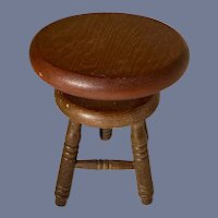 Old Wood Miniature Doll Stool Piano Stool