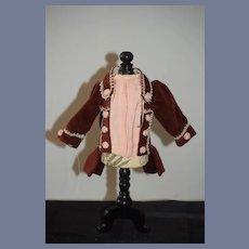 Vintage Doll Hand Made French Market Velvet Jacket W/ Tails