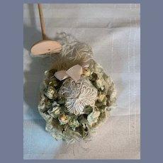 Vintage Artist Doll Fancy Bonnet French Market Flowers Feather Bow Petite Size