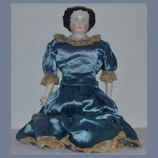 Antique Doll China Head Flat Top Center Part Gorgeous Clothes