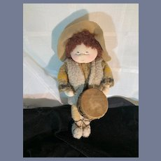 Artist Cloth Doll Stockinette Painted Features MAW Mary Ann Wertz Drummer Boy