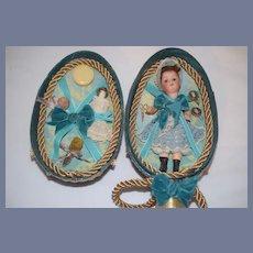 ANtique Bisque Head Miniature Doll Glass Eyes W/ Trousseau Dollhouse