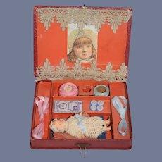 Antique Miniature Litho Sewing Box W/ Miniature Doll Dollhouse