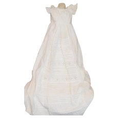 Antique Doll Dress Christening Gown Eyelet Lace Gorgeous W/ White Wear Undergarments